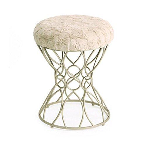 Confortable tabouret de coton en métal mode maquillage tabouret Dressing tabouret à manger chaise thé table tabouret H49CM (Couleur : Chameau, taille : Silver)