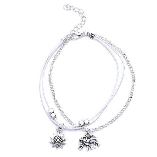 Yesiidor Armbänder Damen Silber mit Anhänger Elefanten Sonne Armband Schmuck Gold