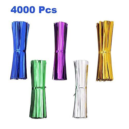 4000 Piezas de 4 Pulgadas de Lazos Metálicos, 5 Colores de