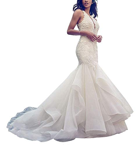Meganbridal Women's Off Shoulder Mermaid Wedding Dress with Train for Bride Ruffles Tulle Lace Bridal Ball Gown
