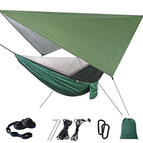 Camping Hangmat Met Zonnescherm Klamboe Draagbare Parachute Nylon Buiten Hangmat, Eenvoudige Montage, Met Boombanden En Karabijnhaken,Green