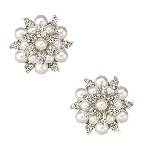 TOOKY -Spilla con cristallo e perla per abito, maglione, cappello, clip per scarpe, decorazione per nozze, confezione da 2