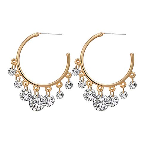 Yhhzw Crystal Hoop Earring For Women Circle Crystal Earring Female Fashion Party Jewelry Gifts