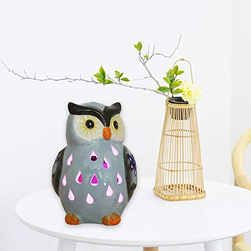 Solar Powered Owl Garden Lights Ceramic Owl Ornaments Waterproof Figure Light Landscape Lamp for Lawn Yard Road Landscape (Blue)