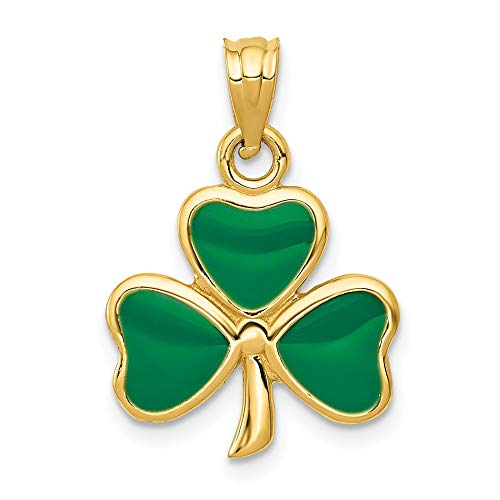 14k Yellow Gold Enameled 3 Leaf Clover Pendant Charm Necklace Good Luck Italian Horn Celtic Claddagh Fine Jewelry For Women Gifts For Her