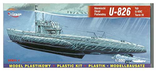 Mirage Hobby 40049, 1: 400 échelle,U-826 Type VIIC U-Turm IV sous-marin allemand, kit de modèle en plastique