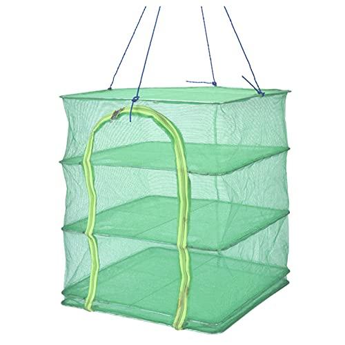 Qjifangzyp Grünes 3-Schicht-trocknungsnetz Mit Reißverschluss Atmungsaktives Trockengestellgeflecht Mit Haken Zum Trocknen Von Blumen, Samen, Fisch, Früchten, Gemüse