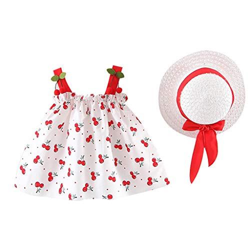 YWLINK NiñAs 2PC Verano Vestido Sin Mangas con Estampado De Cereza con Volantes Vestido De Princesa+Sombrero De Paja Lindo Ropa De NiñOs Muy Bonito Regalo(Rojo,2-3 Years/100/11/12)