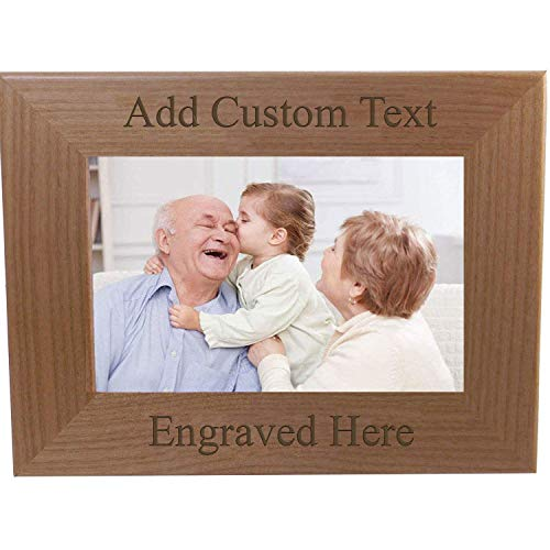 Personalized Add Your Custom Text Hanging/Tabletop Wall Natural Alder Wood Picture Photo Frame Customizable (4x6-inch Horizontal)
