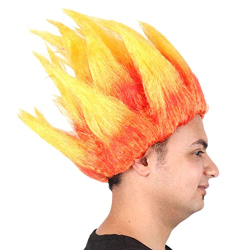 Flame Wig para Hombres Fiesta de Halloween Personal Troll Fiesta de Cosplay Mullido para las mujeres Disfraces Aventura Vacaciones Nueva moda Corto Recto Sintético Pelucas de cabello,Orange