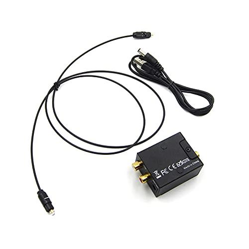 KTING Convertidor de audio digital a analógico, adaptador óptico coaxial Toslink RCA LR con cable óptico y cable USB para TV Cinema