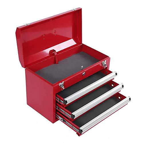 Caja de herramientas, cofre de herramientas, portátil, resistente, 3 cajones, caja de herramientas, organizador de cofre con cerradura, bandeja de almacenamiento, rojo