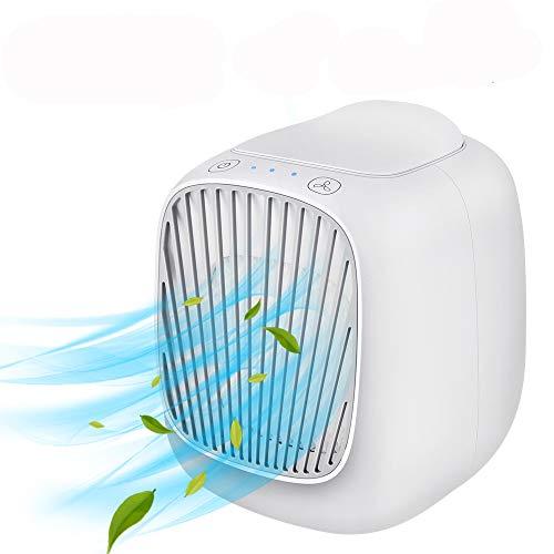 Mobile klimageräte, Hisome Mini Air Cooler, 3 in 1 Persönliche Klimaanlage, Luftbefeuchter und Luftreiniger, USB mini luftkühler mit wassertank und 3 Leistungsstufen für Zuhause und Büro