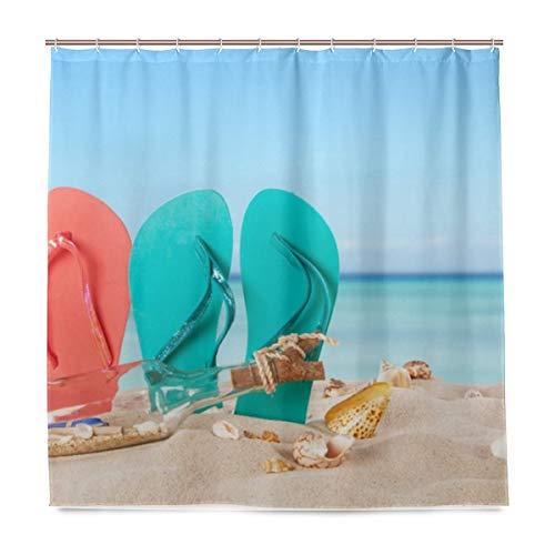 HEOH douchegordijn 72 x 72 inch gekleurde sandalen douchegordijn van polyester waterdicht met haken