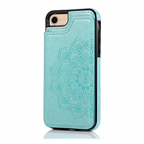 Lijc Compatible con Funda iPhone 6/6S Botón Doble Mandala En Relieve PU Cuero Tarjeta Bolsillos [Ranura para Tarjetas] [Soporte Plegable] Antigolpes Flip Caso-Verde