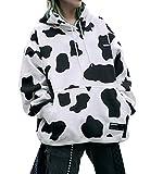 Ropa de Calle Retro, Estampado de Vaca y suéter con Capucha de Polar, Adecuado como Top de Pareja,Blanco,M