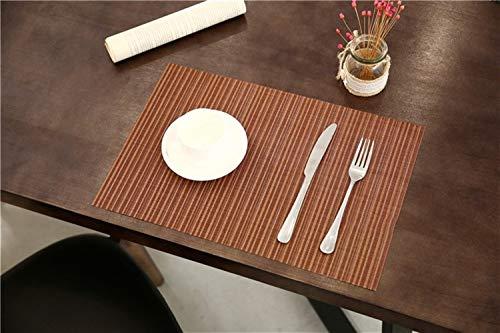 Qinqin666 Tabla Lavable PVC Esteras Juego de 8, Resistente al Calor Antideslizante Raya Cocina Comedor Mesa Individuales Hogar, Hotel, Restaurante. (Color : Coffee)