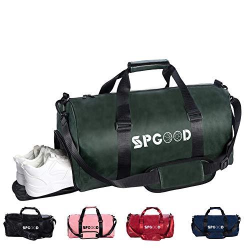SPGOOD Sporttasche Handgepäck Wasserdicht 20L Reisetasche mit Schuhfach und Schultergurt für Übernachtung Reisen Sport Gym Urlaub Taschen Trainingstasche Fitnesstasche Gym-Tasche (,dunkelgrün)