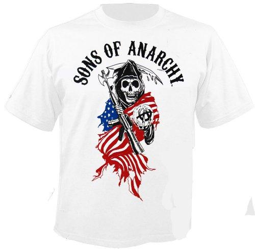SONS OF ANARCHY - Reaper Logo - White - T-Shirt Größe L