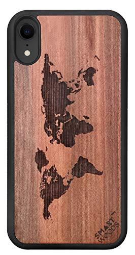 SmartWoods beschermhoes voor iPhone XR, houten case voor smartphone, telefoonhoes, beschermhoes gemaakt van hout voor iPhone, ecologisch, natuurdicht en origineel (world map)