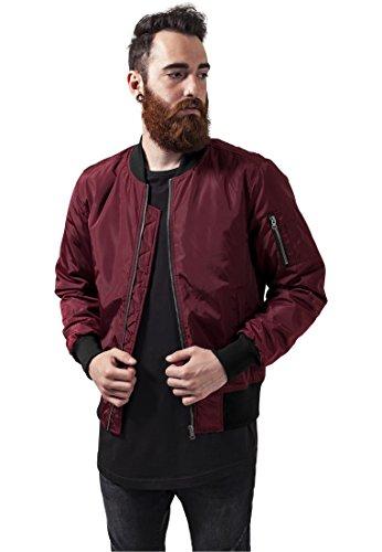 Urban Classics Cazadora de Hombre Chaqueta Bomber de Estilo Urbano, en Burdeos con Cuello, Cintura y Puños Negros a Contraste, Cierre con Cremallera, Burgundy/Black, S