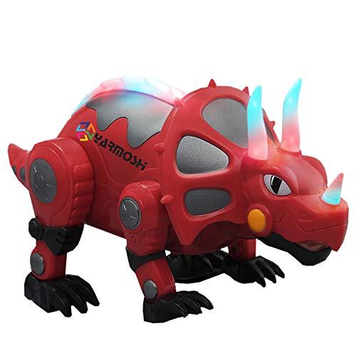 Triceratops Andantes Dinosaurio Robot Juguete Operado Por Batería. Luces Brillantes De Colores. Miembros En Movimiento, La Música Jugando. Regalo Jurásico Divertido Para Niños Y Niñas. La De 2+ (Rojo)