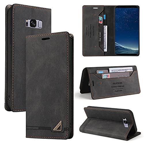 Funda tipo cartera para Samsung Galaxy S8 Plus, funda de piel sintética de alta calidad, con función atril, cierre magnético, ranuras para tarjetas, TPU a prueba de golpes, color negro