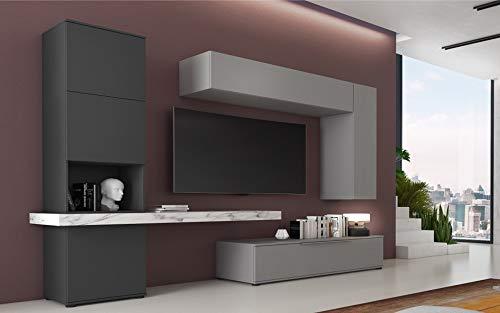 Am Group Home Parete attrezzata Atena Mobile Soggiorno Completo Moderna Zona Giorno Porta TV Salotto Design Elegante Finitura Grafite, Platinum Grey e Marmo