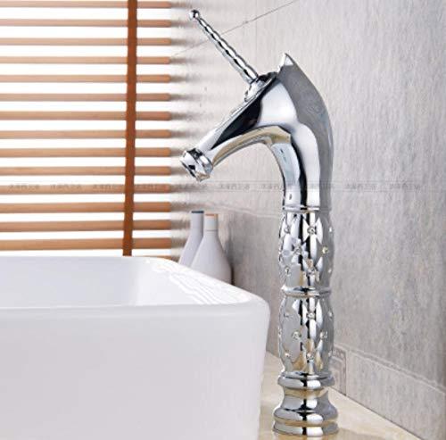 srtyu Silber Ecke Silber Einhorn Wasserhahn heißen und kalten Kupfer Becken über Aufsatzbecken Persönlichkeit kreative europäische Waschbecken Wasserhahn