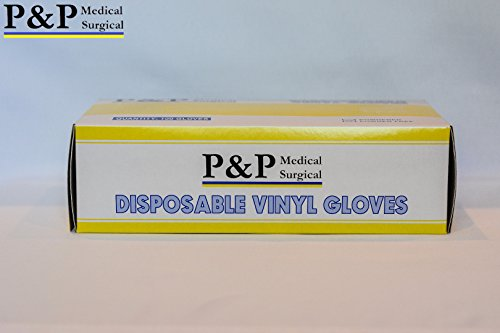 Disposable Vinyl Gloves Powder & Latex Free Medical Exam Grade by P&P Medical Surgical Hypoallergenic Highest Quality Case of 1000 (X-Large)