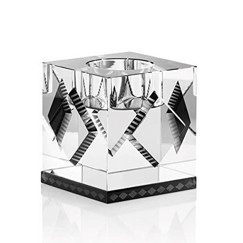Reflections Copenhagen - Cleveland - Teelichtständer, Kerzenleuchter, Kerzenständer - Kristallglas - Klar, Schwarz - (LxBxH): 7 x 7 x 7 cm
