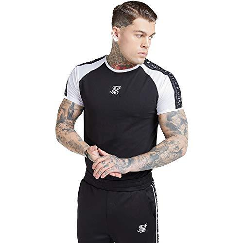 Sik Silk Camiseta S/S Raglan Straight Hem Tape Negro