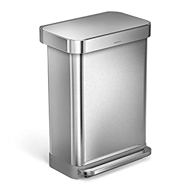 simplehuman 55 Liter/14.5 Gallon Stainless Steel Rectangular Kitchen Step Trash Can with Liner Pocket, Brushed Stainless Steel
