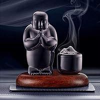 香炉逆流磁器仏僧 - 中国繊細な美術工芸 (Color : Black)