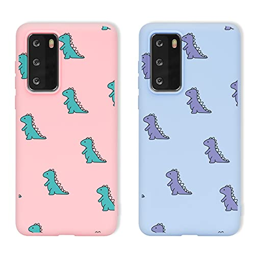 Yoedge 2 Piezas para Xiaomi Redmi Note 9 / Redmi 10X 4G Funda,Silicona Mate TPU Protección Carcasa con Dinosaurio Animados,Delgada Antichoque Case para Redmi Note 9 4G 6,53