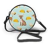 Dog and Burger Print Round Crossbody Bag Bolso bandoleras Women Shoulder Bag PU Leather Chain Strap...
