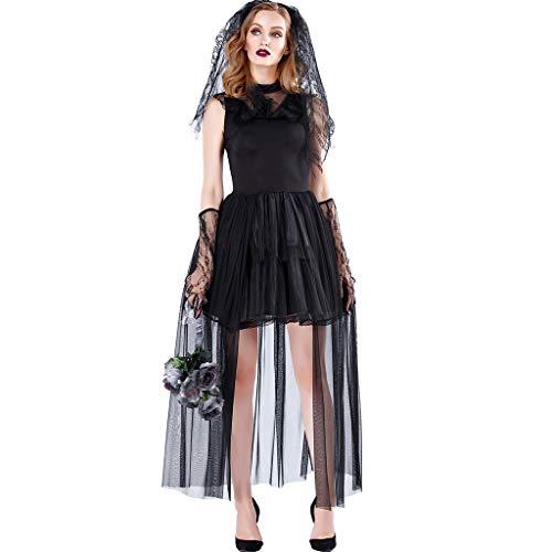 ZJL220 Vestido de novia fantasma sin mangas con velo y guantes para Halloween