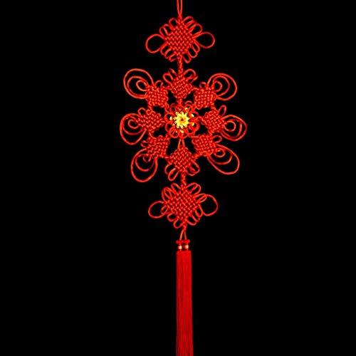 XJYJF Tassel/Borla Colgante Fino Tejido Hecho a Mano Girasol Colgante pequeño Grande con Flecos de Madera Pendiente Colgante Colgante Regalo Plum Grande Colgante Rojo Afortunado Ori (Size : 6PACK)