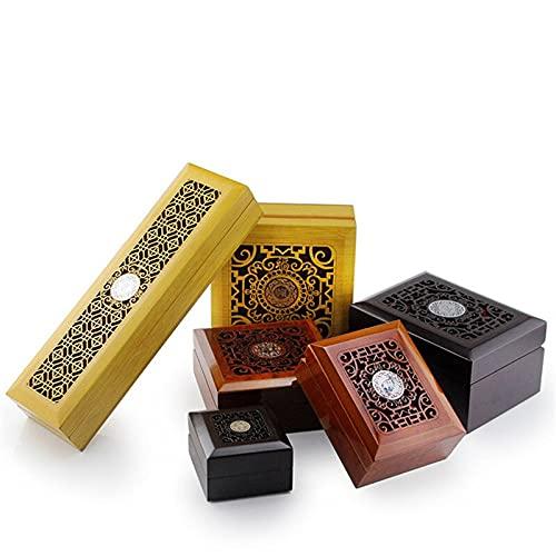 YANGYUE Caja de joyería Hueca de Madera Caja de Regalo de Estilo Chino Pendientes de Pulsera de Jade Caja de Almacenamiento de Cuentas de Buda Exquisita Caja de joyería Organizar