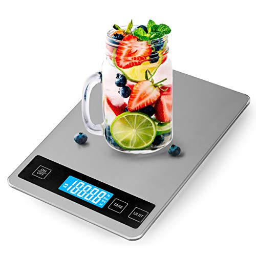 33lbs (15kg) Rechargeable Kitchen Scale, 5 Units LCD Display Tempered Glass Digital Scale, 1g/0.1oz Precise Stainless Steel Food Scale for Cooking Baking