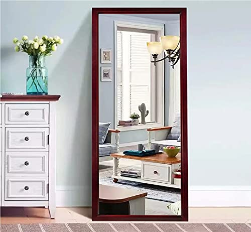 "Wood Framed Full Length Floor Mirror Leaning Against Wall or Wall Mount (Espresso, 65""x22"")"