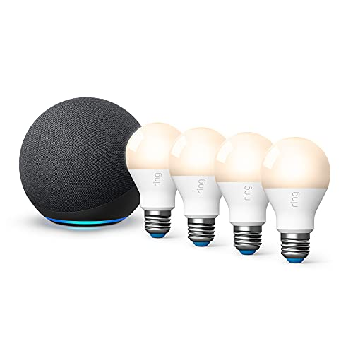 Ring Smart Lighting - A19 Bulb, White (4-pack) bundle with All-new Echo (4th Gen) - Charcoal