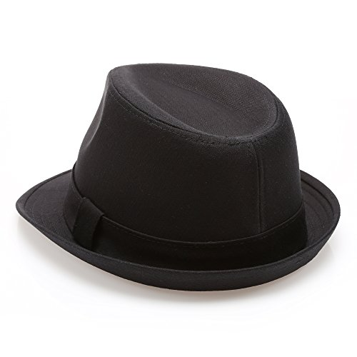MIRMARU Classic Trilby Short Brim 100% Cotton Twill Fedora Hat with Band(Black,SM)