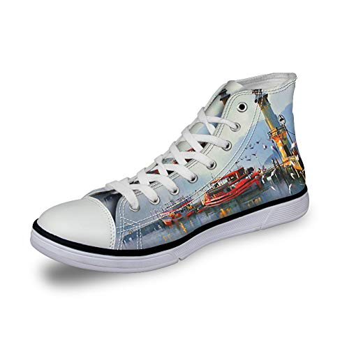High Top Classic Casual Canvas Sneakers Lace ups Casual Walking Shoes,View of a Misty Morning at The Harbor with Boats and Birds in Old Fishing Town Art - Womens 10