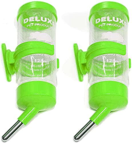 Botella dispensadora de hámster de 2 piezas, sin goteo, de plástico, 125 ml, dispensador automático de botella de agua con 2 bolas de balanceo para cobayas, jerbo, chinchilla (rojo)