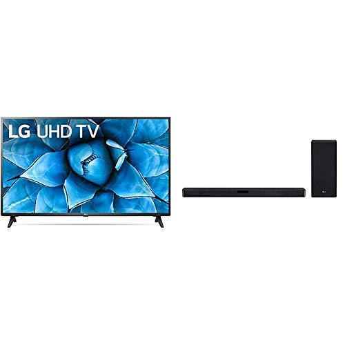 """LG 50UN7300PUF Alexa Built-in 50"""" 4K Ultra HD Smart LED TV (2020) & LG SL5Y 2.1 Channel High Resolution Sound Bar w/DTS Virtual:X, Black"""