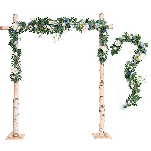 Ling's moment Wedding Arch Flowers Dusty Blue Floral Garland Greenery Garland 2 Rows 6.5ft for Wedding Ceremony Backdrop Decorations