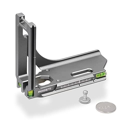ROGETI La placa de liberación rápida QRL-GFX100s en L es adecuada para cámaras Fuji GFX100S en horizontal y vertical, placa de liberación rápida, placa de corte integrada.