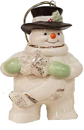 Lenox Christmas Ornament Snowman with snowflake Ivory Porcelain 24 k Gold New In box
