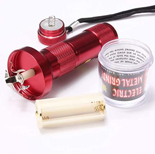 Outletisimo - Triturador de tabaco con linterna, color rojo, picadora de tabaco de aluminio eléctrico